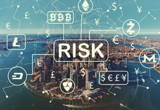 Cryptocurrency risk theme with aerial view of NY skyline Stock Images