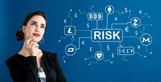 Cryptocurrency risk theme with business woman royalty free stock image