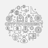 Cryptocurrency round outline illustration. Vector virtual money Royalty Free Stock Photos