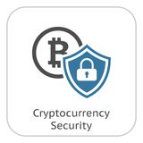Cryptocurrency security icon. Modern computer network technology sign. Digital graphic symbol. BTC Coin and Shield with Padlock. Concept design elements Stock Photos