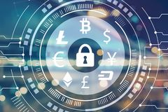 Cryptocurrency security theme with blurred city lights Royalty Free Stock Photos