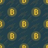 Cryptocurrency sem emenda do teste padrão de Bitcoin do ouro com linhas ilustração royalty free