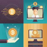 Cryptocurrency - set of colorful flat design style infographics elements. High quality metaphorical collection of four images with bitcoin symbols, server Royalty Free Stock Photos