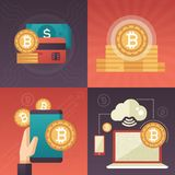 Cryptocurrency - set of colorful flat design style infographics elements. High quality metaphorical collection of four images with bitcoin symbols, smartphone Royalty Free Stock Photography