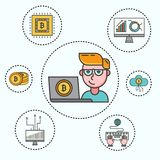 Cryptocurrency set of cryptocoins, crypto wallet and young businessman with computer and bitcoin mining farm. Modern. Cryptocurrency set of cryptocoins, crypto stock illustration