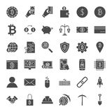 Cryptocurrency Solid Web Icons. Vector Set of Bitcoin Glyphs Stock Photography
