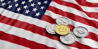 Cryptocurrency in Spanien Goldenes bitcoin und Vielzahl von silbernen virtuellen Münzen auf US Amerika kennzeichnet Hintergrund A Stockfotos