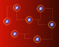 Cryptocurrency status style on red background. Vector illustration Royalty Free Stock Image