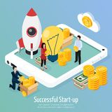 Cryptocurrency Successful Startup Isometric Composition stock illustration