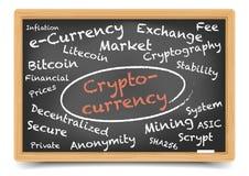 Cryptocurrency svart tavla royaltyfri illustrationer