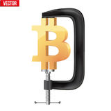Cryptocurrency symbol bitcoin under pressure. Concept of cryptocurrency Bitcoin Under pressure. Symbol Ethereum being squeezed in vice. Vector Illustration Stock Photos