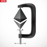 Cryptocurrency symbol ethereum under pressure. Concept of cryptocurrency Ethereum Under pressure. Symbol Ethereum being squeezed in vice. Vector Illustration Stock Photography