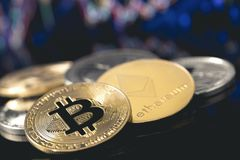 Cryptocurrency, coins. Bitcoin, ethereum, dash, monero, litecoin royalty free stock images
