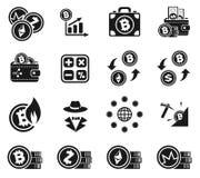 Cryptocurrency symbolsuppsättning Royaltyfri Foto