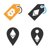 Cryptocurrency Tag Vector Icon Set. Style is bicolor flat symbols Royalty Free Stock Photo