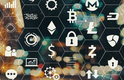 Cryptocurrency theme with blurred city lights. Cryptocurrency theme with blurred city abstract lights background Royalty Free Stock Image