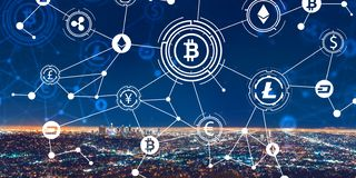 Cryptocurrency theme with downtown Los Angeles. At night royalty free stock images