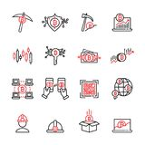 Cryptocurrency thin line icon set 7, vector eps10 Royalty Free Stock Photo