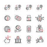 Cryptocurrency thin line icon set 6, vector eps10 Stock Photography