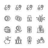 Cryptocurrency thin line icon set 1, vector eps10 Stock Photos