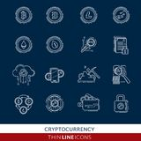 Cryptocurrency thin line icons Royalty Free Stock Images