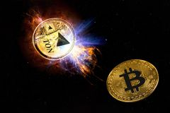 Cryptocurrency TON. From telegram. Gold coin of gram falls to the ground bitcoin. Elements of this image furnished by NASA Royalty Free Stock Photo