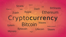 Cryptocurrency top names and world map.  Editable eps10 Vector. Royalty Free Stock Photos