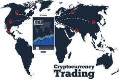 Cryptocurrency trading concept in line art style. Cryptocurrency trading concept with online chart on smartphone screen. Digital money, blockchain technology Royalty Free Stock Photo