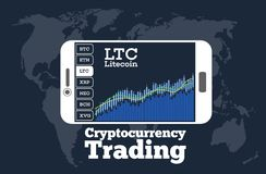 Cryptocurrency trading concept in line art style. Cryptocurrency trading concept with online chart on smartphone screen. Digital money, blockchain technology Stock Photos