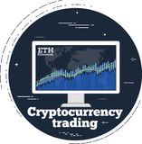 Cryptocurrency trading concept in line art style. Cryptocurrency trading concept with online chart on computer monitor screen. Blockchain technology, financial Royalty Free Stock Images