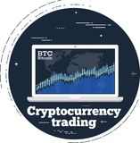 Cryptocurrency trading concept in line art style. Cryptocurrency trading concept with online chart on laptop monitor screen. Blockchain technology, financial Royalty Free Stock Photo