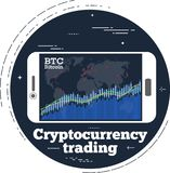 Cryptocurrency trading concept in line art style. Cryptocurrency trading concept with online chart on smartphone screen. Digital money, blockchain technology Royalty Free Stock Image