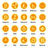 Cryptocurrency types icons set, flat style. Cryptocurrency types icons set. Flat illustration of 25 cryptocurrency types vector icons for web Stock Photos