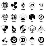 Cryptocurrency types icons set, simple style. Cryptocurrency types icons set. Simple illustration of 25 cryptocurrency types vector icons for web Royalty Free Stock Images