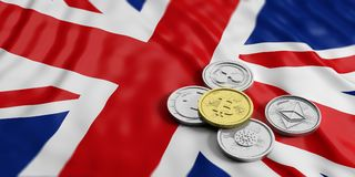 Cryptocurrency in UK. Golden bitcoin and variety of silver virtual coins on United Kingdom flag background. 3d illustration. Cryptocurrency in UK concept. Golden Royalty Free Stock Images