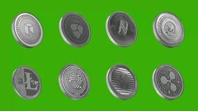 Cryptocurrency ukuwa nazwę metalu srebro, Neo, Nem, imię, Monero, Litecoin, jota, Golem, czochra ilustracji