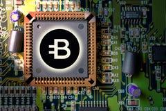 cryptocurrency und blockchain - Finanztechnologie und Leiterplattebergbau und Münze BYTECOIN BCN des Internets geld- Stockfoto