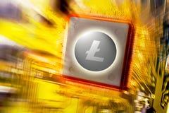 Cryptocurrency und blockchain - Finanztechnologie und Leiterplattebergbau und Münze Litecoin LTC des Internets geld- Stockfotografie