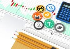 Cryptocurrency utbyteshandlar Handelschema Affärsman`en s de Royaltyfri Foto