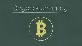 Cryptocurrency vector illustration on chalkboard. royalty free illustration