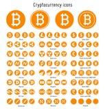 Cryptocurrency vectorpictogrammen Stock Afbeelding