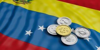 Cryptocurrency in Venezuela Goldenes bitcoin und Vielzahl von silbernen virtuellen Münzen auf Venezuela kennzeichnet Hintergrund  stock abbildung