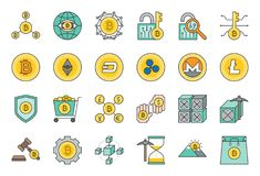 Cryptocurrency verwante pictogramreeks stock illustratie
