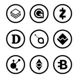 Cryptocurrency or virtual currencies black icon set isolated Stock Images
