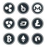 Cryptocurrency or virtual currencies icon set isolated. Vector Royalty Free Stock Photos