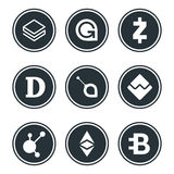 Cryptocurrency or virtual currencies icon set isolated Stock Photo