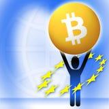 Cryptocurrency virtuale di Bitcoin dei soldi - Bitcoins accettato qui Immagine Stock Libera da Diritti