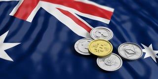 Cryptocurrency w Australia Złoty bitcoin i rozmaitość srebne wirtualne monety na Australia zaznaczamy tło ilustracja 3 d royalty ilustracja