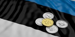 Cryptocurrency w Estonia Złoty bitcoin i rozmaitość srebne wirtualne monety na Estonia zaznaczamy tło ilustracja 3 d royalty ilustracja