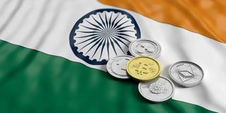 Cryptocurrency w India Złoty bitcoin i rozmaitość srebne wirtualne monety na India zaznaczamy tło ilustracja 3 d royalty ilustracja